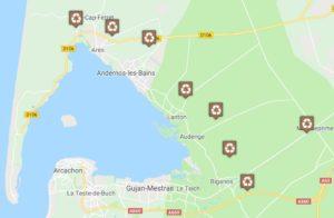 Carte des 8 déchèteries du territoire de la COBAN