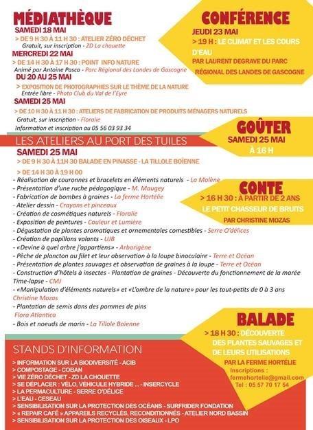 Programme de la Fête de la Nature à Biganos du 18 au 25 mai 2019