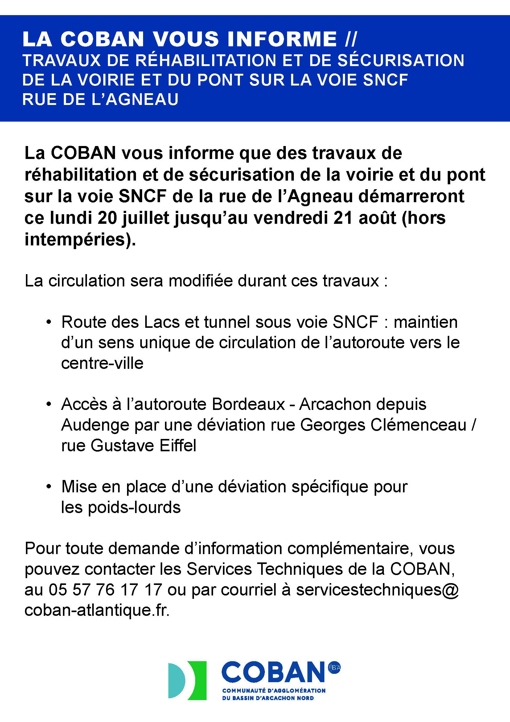 Information COBAN - Travaux réhabilitation et sécurisation voirie et pont Agneau BIGANOS