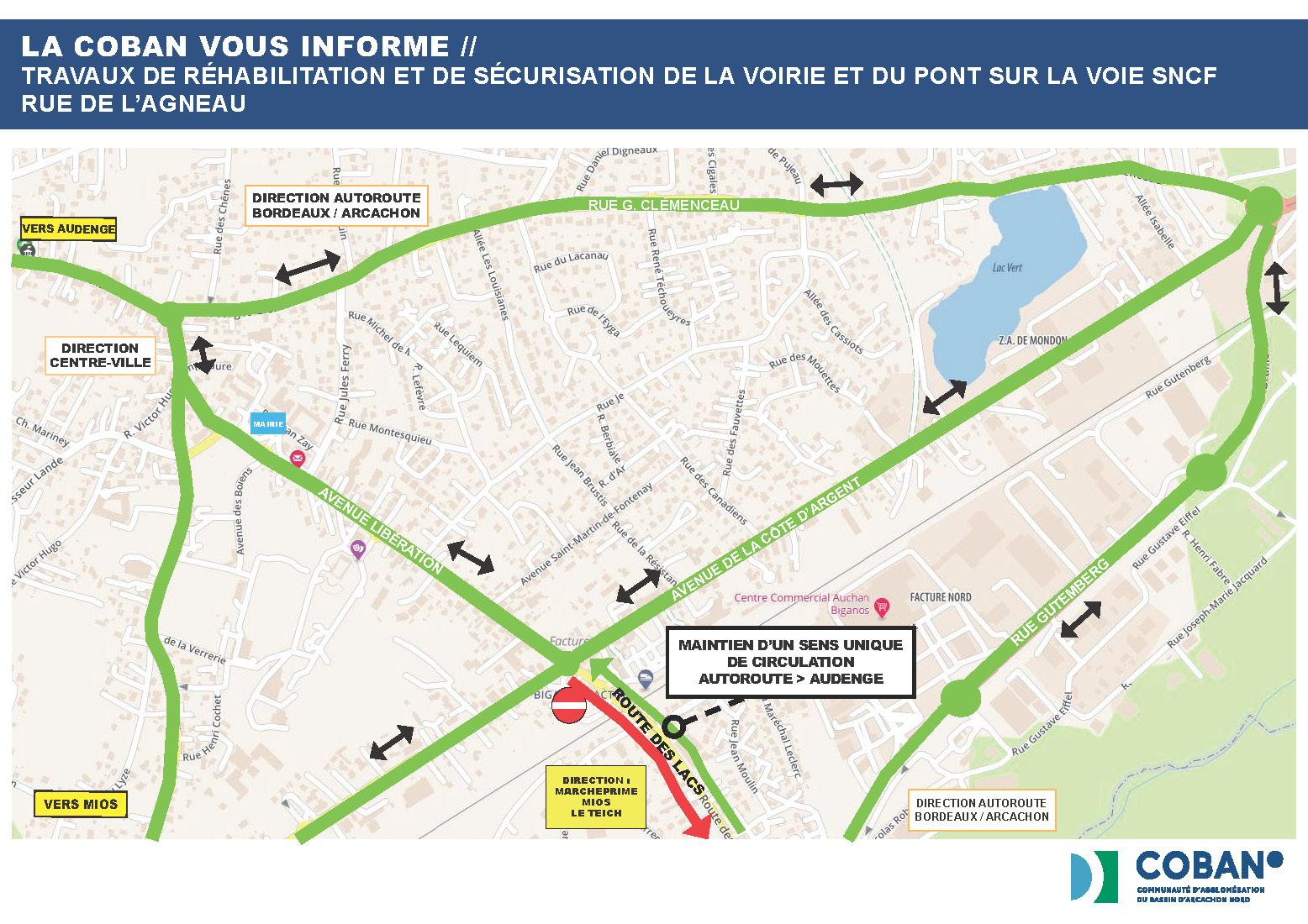 Plan de déviation COBAN - Travaux réhabilitation et sécurisation voirie et pont Agneau BIGANOS