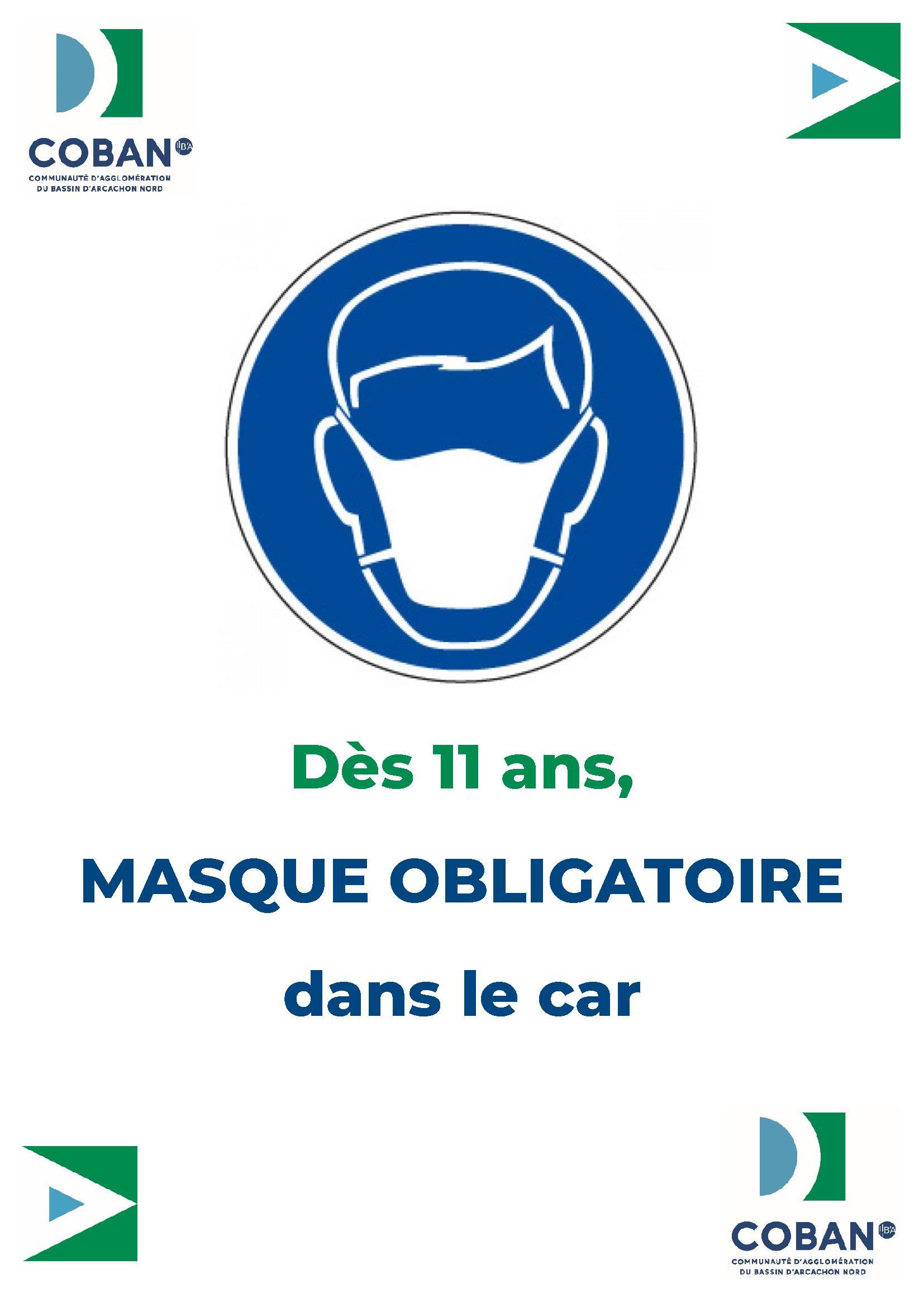 Affiche Masque obligatoire Car scolaire