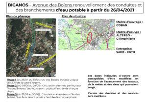 Travaux de renouvellement des conduites et des branchements d'eau potable - Avenue des Boïens à Biganos