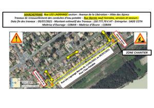 Plan de circulation - Renouvellement des conduites d'eau potable rue Léo Lagrange à Marcheprime