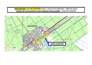 Zone de chantier - Renouvellement des conduites d'eau potable rue Léo Lagrange à Marcheprime