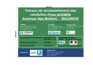 Panneau de chantier Financeurs - Travaux AEP avenue des Boïens à Biganos